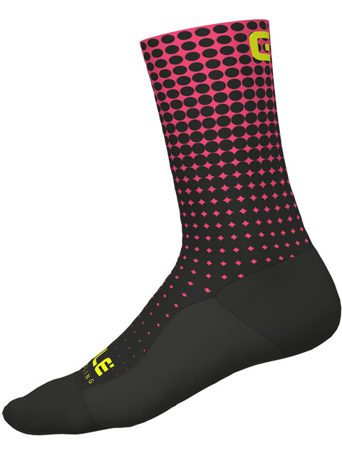 Alé Cycling Dots Socks nero-rosa fluo/black-fluo pink